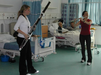 musicians playing in hospital